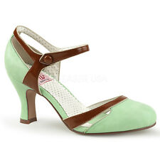 """PINUP Sexy 3"""" Kitten Heel Round Toe Green D'Orsay Pumps Ankle Strap Women Shoes"""