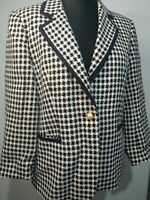 DELMOD INTERNATIONAL Black White Houndstooth 14 Jacket 75% wool Tailored Blazer