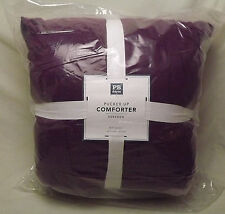 NWT Pottery Barn Teen Dark Purple Pucker Up Comforter Quilt FULL/QUEEN