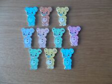 10 bois Teddy Bear Shape Sewing Boutons Mixte au hasard. Crafts/Scrap booking (#)