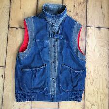 IZZI Vtg 80s Womens Denim Jacket Vest Sleeveless Lined 2 Tone Black Blue S M