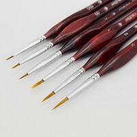 6PCS Pro Artist Miniature Paint Brush Set  000, 00, 0, 1, 2, 3 Art Model Maker