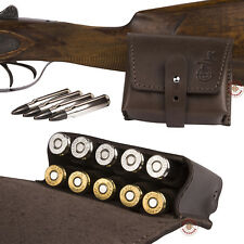Leather Ammo Pouch Rifle Shell Holder .30 cal Hunting Shooting Brown