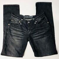 COOGI Womens Jeans 9 10 X 32 Black Stretch Straight Leg Bling Pocket Casual