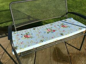 "Floral blue 2 seater garden bench pad/cushion 45"" , removable cover and Ties"