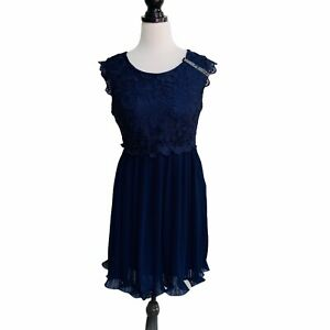 Womens Boohoo Dress Size 14 12 Blue Lace Party Sleeveless Swing Pleated Skater