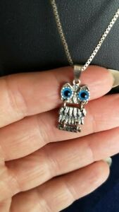 Super Cute 925 Silver Articulated Owl Pendant on Silver Chain Birthday Gift etc