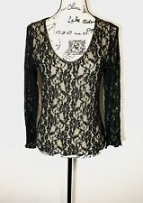 Boston Proper Lace Trim Blouse Size S Ivory & Black Floral