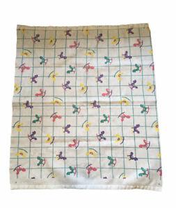 "VintageTri Western Rocking Horse Baby Infant Blanket Satin 37"" x 43"" White Plaid"