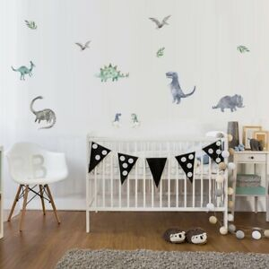 Removable Wall Decals Nursery Baby Boy Watercolour Dinosaur Wall Stickers