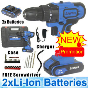 21V Cordless Drill Driver Set Electric Screwdriver Fast Charge Case 2x Batteries