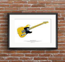 Keith Richards' Fender Telecaster Micawber Gitarre Kunst Poster A2 Größe