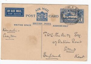 1931 British India 4 Annas Air Mail Postcard Simla - Karachi Croydon 3rd Aug