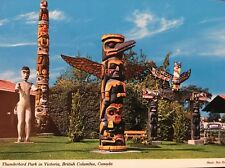 Thunderbird Park Victoria BC Canada Postcard Vintage Totem Poles