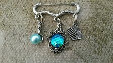 Silver MERMAID BROOCH PIN with 3 Charms / Custom Made