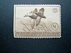 1940 US S# RW7, $1.00 Black Mallards Interior Dept Duck Revenue Stamp MLH OG *