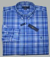 New Medium M POLO RALPH LAUREN Mens long sleeve shirt blue Plaid button down 15