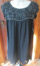 ALICE + OLIVIA Black Silver SEQUIN COCKTAIL TUNIC DRESS BABY DOLL TOP BLACK NWT