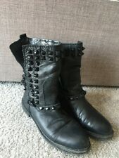 Zara ladies studded black leather ankle boots size 39