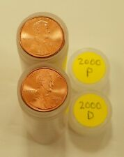 2000 P D Lincoln Memorial Cent Red Brilliant Uncirculated 1 Roll Each