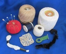 Lot of 3 Spools Vintage Crochet Thread, Red Pin Cushion, Pearl Pins Floss Scraps