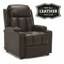 STUDIO BROWN LEATHER RECLINER w DRINK HOLDERS ARMCHAIR SOFA CHAIR CINEMA GAMING
