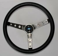 "Grant Black Steering Wheel With Ford Center Cap Fits Ididit Column 15"" SS spokes"