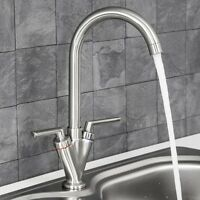 Kitchen Sink Mono Mixer Basin Tap Dual Lever Taps Swivel Waterfall Faucet Chrome