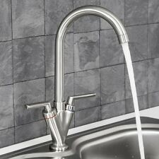 Modern Mono Kitchen Mixer Tap Twin Lever Control Swivel Brushed Nickel Finish