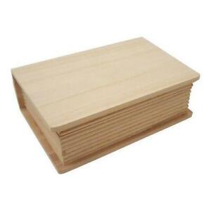 Large Wooden Deep Book Hidden Box Clasp Lid Storage Jewellery Trinket 35x25x10cm
