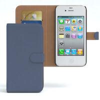 Tasche für Apple iPhone 4 / 4S Case Wallet Schutz Hülle Cover Dunkelblau