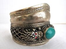 """Antique Chinese Cuff Bracelet Double Dragon Green Cabochon High Relief 2"""" Wide"""