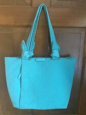 Vera Bradley Hadley Classic Solid Turquoise Quilted Tote Shoulder Bag