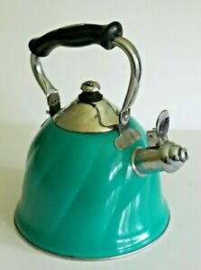 Mr. Coffee Turq. Whistling Tea Kettle Stainless Steel w/ Stay Cool Handle NICE!
