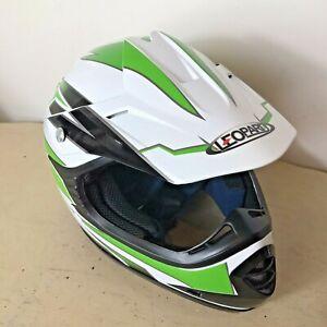 LEOPARD Youths Motocross / Motorcycle Helmet Size: Y - L 53 - 54cm Green & White