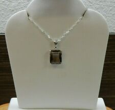 6ct Natural Smokey Quartz Pendant with Chain Necklance