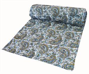 Kantha Quilt Indian Bedspread Cotton Handmade Paisley Bedding Blanket Coverlet