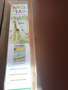 Wallies - Wall Play Giraffe Growth Chart Vinyl Peel and Stick Decor W