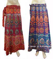 Set of 2 Women Ethnic Floral Rapron Print Cotton Long Skirt Wrap Around Skirt_a1