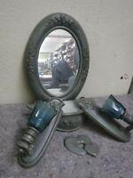 Vintage 1987 Barnwood Products Blue Wall Art-Mirror, Sconces, Shelf, Wall Decor