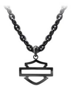 Harley-Davidson Men's Blackout Outline B&S Necklace, Stainless Steel HSN0061