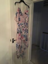 Lipsy Dress Size 8 Maxi With Floral Design And Lace Pink Blue