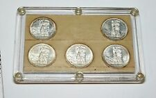 Set of 5 uncirculated 1958 Canadian Silver Dollars in Capitol Holder