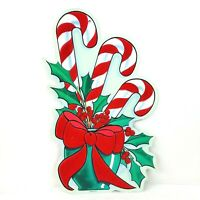 Vintage EUREKA Christmas Die Cut Fuzzy Candy Cane Wall Decoration Holiday USA