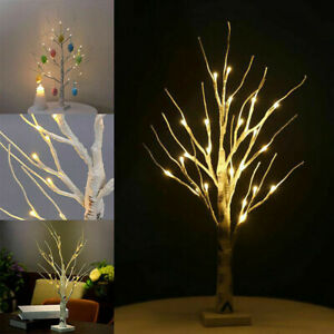 Christmas Snowy Birch Tree LED Light Up Branches Twig Easter Hanging Eggs Decor