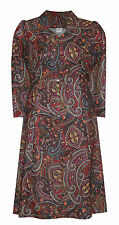 Polyester Paisley Long Sleeve Plus Size Dresses for Women