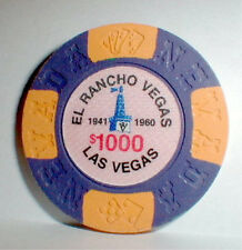 $1000 Chip El Rancho Casino Las Vegas Nevada Plus History of the Vegas Casino