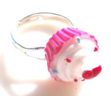 GORGEOUS HANDMADE PINK CUPCAKE  RING + FREE GIFT BAG