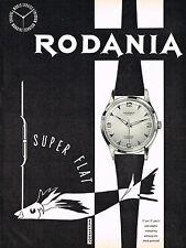 1950s Vintage 1956 Rodania Super Flat Swiss Watch Mid Century Fish Art Print Ad