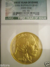 2006 FIRST YEAR OF ISSUE $50 NGC PERFECT MS70 GOLD BUFFALO
